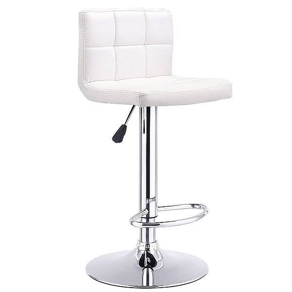 BAR STOOL SWIVEL ADJUSTABLE PU LEATHER BARSTOOLS BISTRO PUB CHAIR WHITE