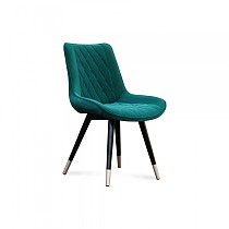Dining Chair Green Velvet Fabric Steel Leg