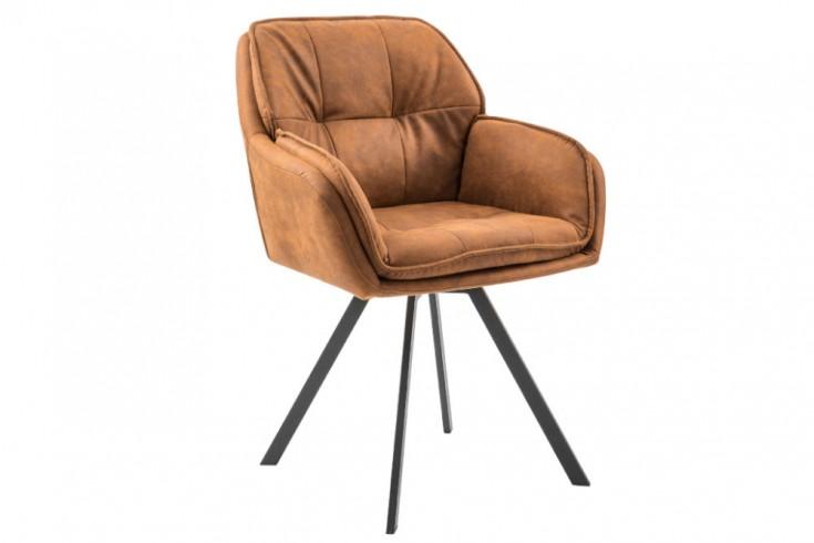 Swivel design chair light brown with armrest