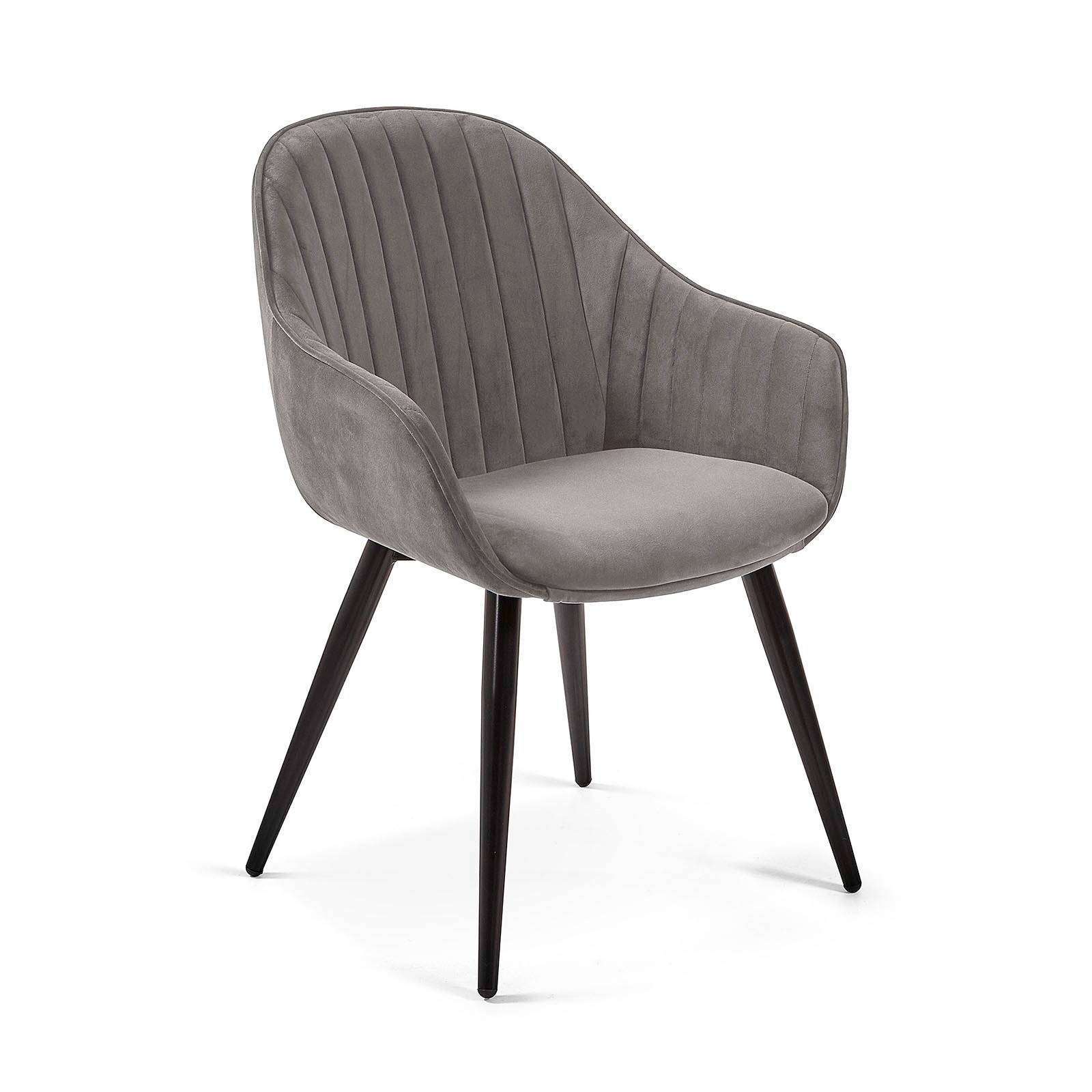 Grey fabric dining chairs with metal legs comfortable china design