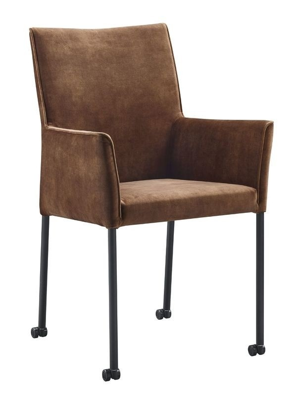 Dark brown fabric dining chairs high back with wheels