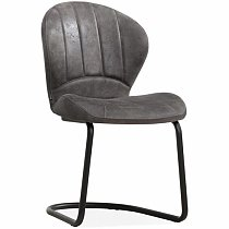 Grey leather dining chair metal base made in china