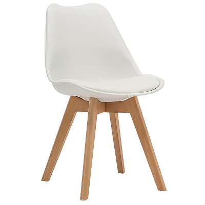 EAMES STYLE TULIP DINING CHAIRS WHITE WITH PADDED SEAT