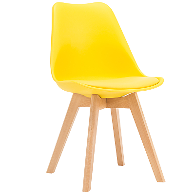 EAMES STYLE TULIP DINING CHAIRS YELLOW WITH PADDED SEAT