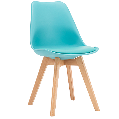 EAMES STYLE TULIP DINING CHAIRS SKY BLUE WITH PADDED SEAT