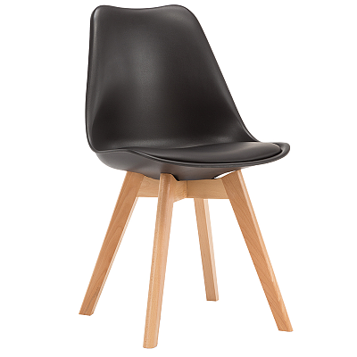 EAMES STYLE TULIP DINING CHAIRS BLACK WITH PADDED SEAT