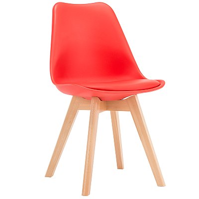 EAMES STYLE TULIP DINING CHAIRS RED WITH PADDED SEAT