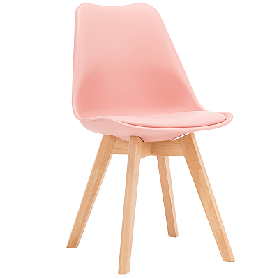 EAMES STYLE TULIP DINING CHAIRS PINK WITH PADDED SEAT