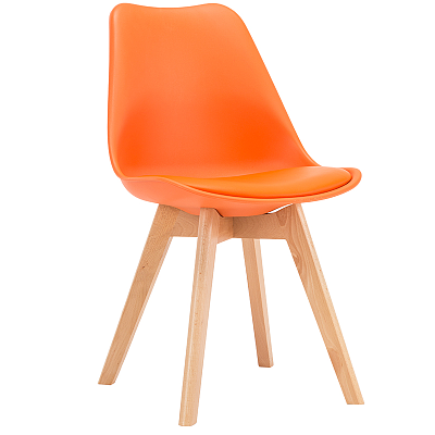 EAMES STYLE TULIP DINING CHAIRS ORANGE WITH PADDED SEAT