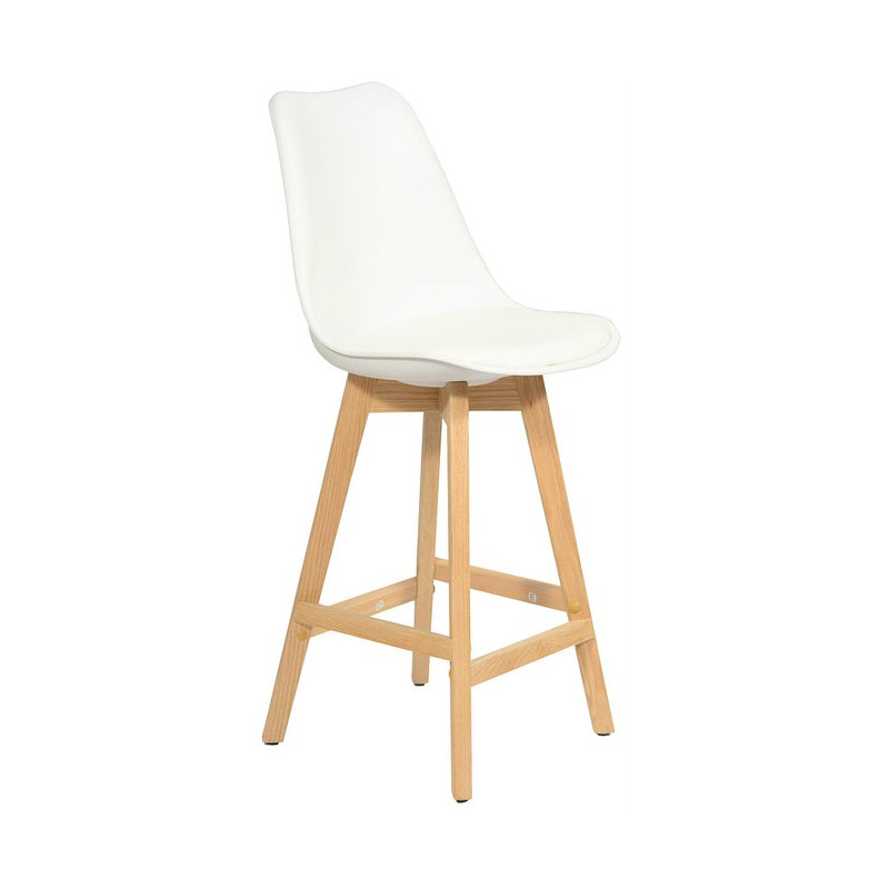 Scandinavian design tulip bar stool white solid wood base
