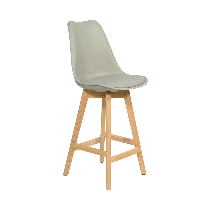 Scandinavian design tulip bar stool gray solid wood base