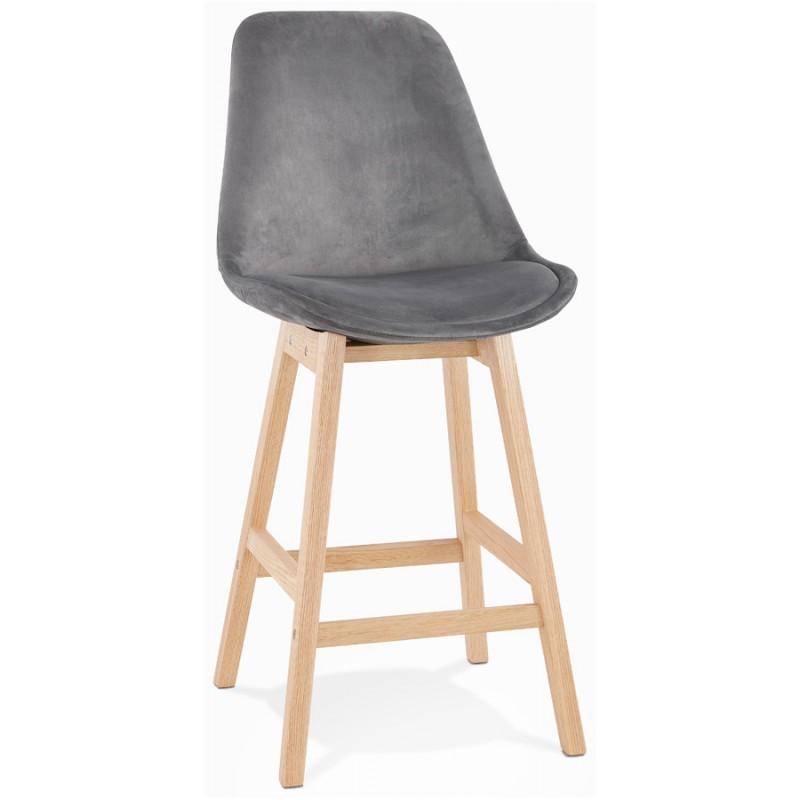 Eames Inspired DSW Velvet Stool Squared Legs Gray