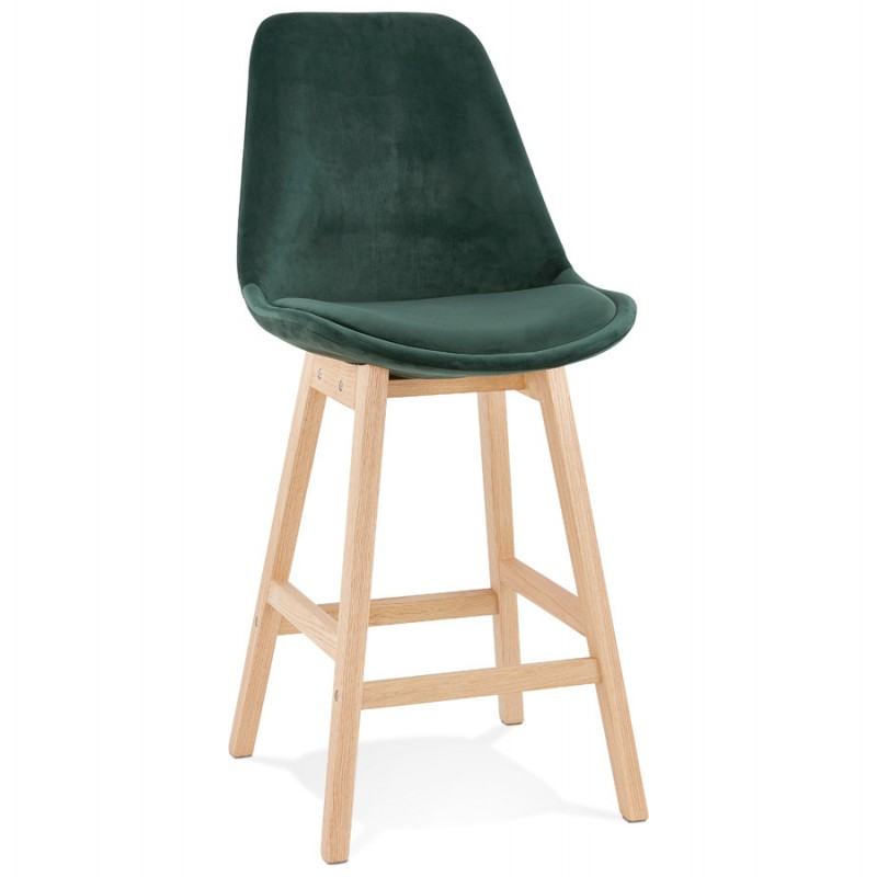 Eames Inspired DSW Velvet Stool Squared Legs Blackish green