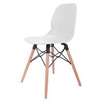 White Dining Shell Side Designer Task Chair with Beech Wood Legs