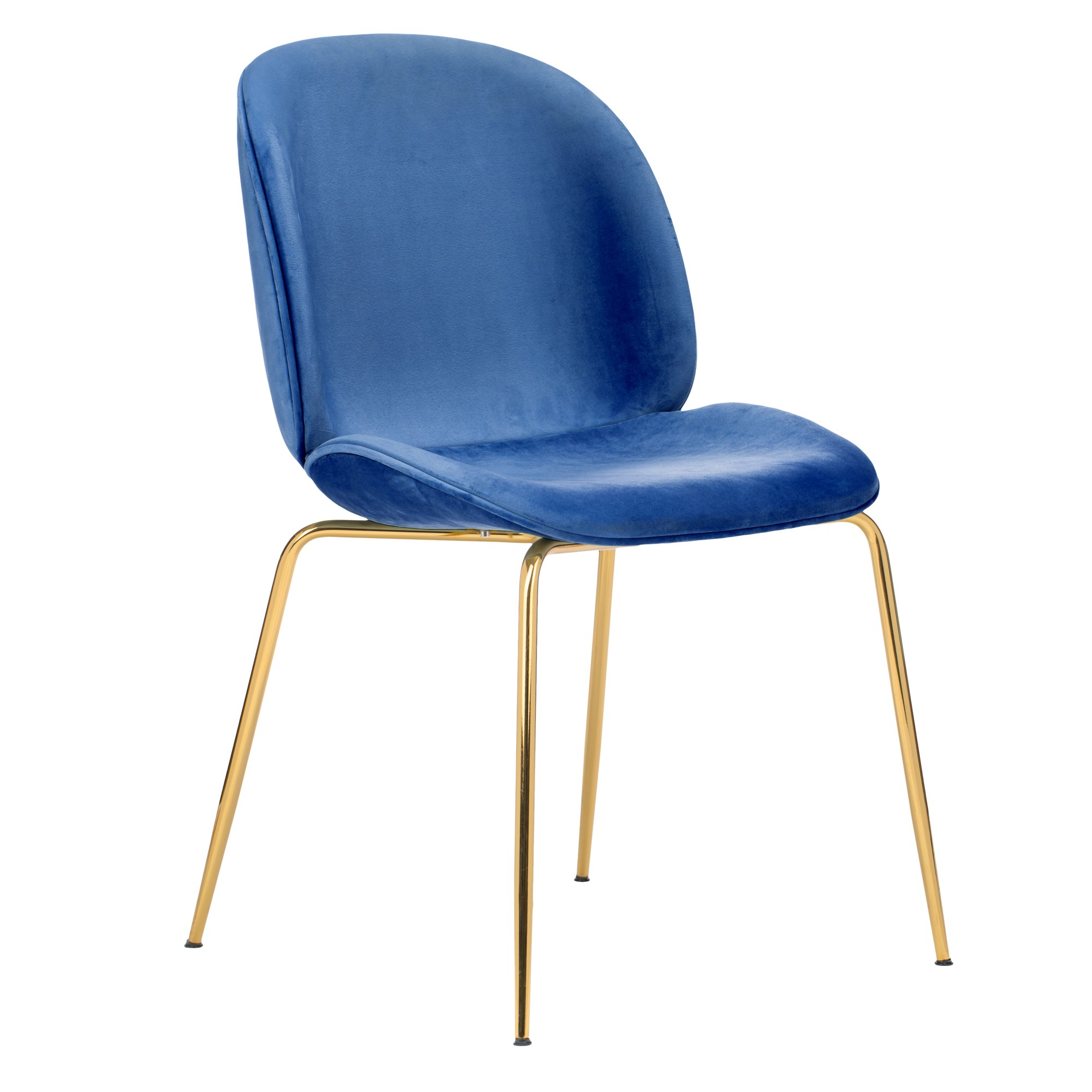 Velvet Upholstered Side Dining Accent Chair in Royal Blue with Polished Gold Chrome Legs
