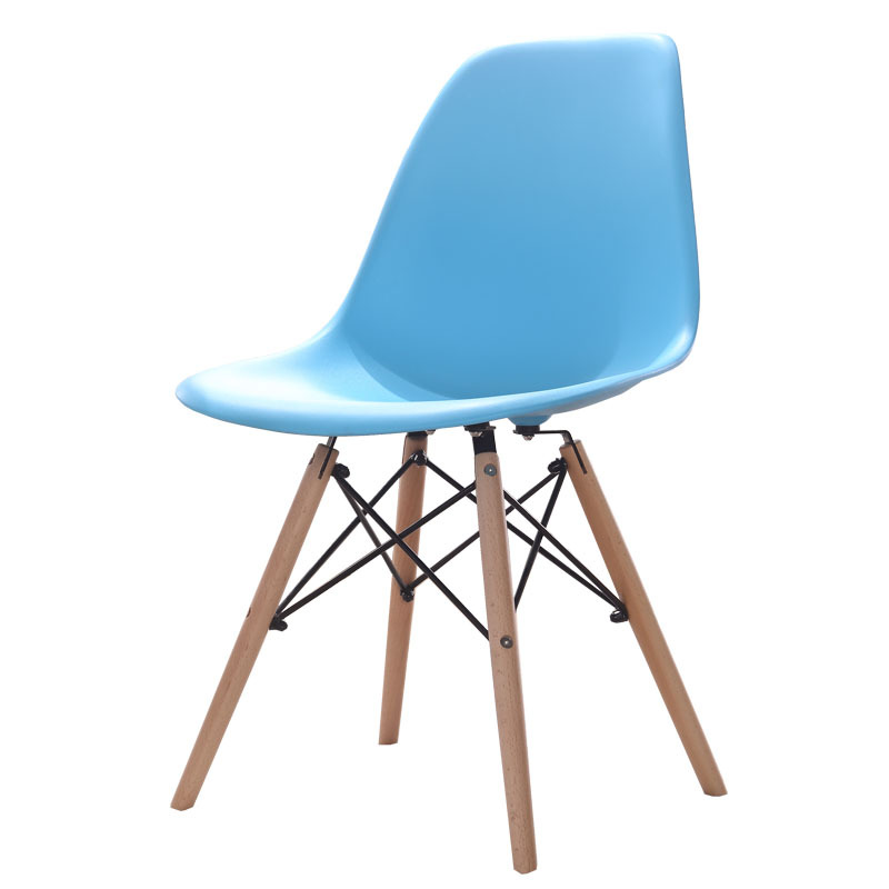 DSW Molded Sky Blue Plastic Dining Shell Chair with Wood Eiffel Legs