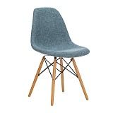Fabric Upholstered Side Dining Accent Chair in Blue with Natural Beech Wood Eiffel Leg