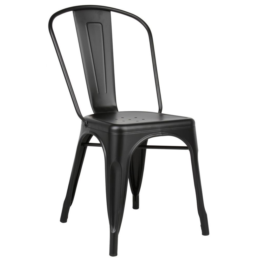 Tolix Style Matte Black Metal Industrial Loft Designer Cafe Chair