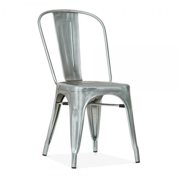 Tolix metal dining chair silver