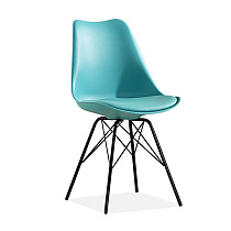 Scandinavian design tulip dining chair upholstered comfortable teal plastic shell