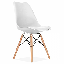 nordic contemporary design white polypropylene dining chair with wood legs