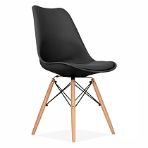 nordic contemporary design black polypropylene dining chair with wood legs