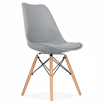 nordic contemporary design gray polypropylene dining chair with wood legs
