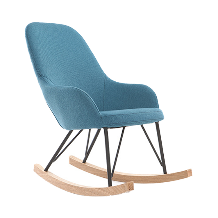 RELAX ARMCHAIR - BABY ROCKING CHAIR BLUE FABRIC METAL LEGS
