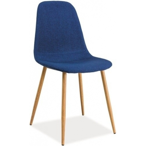 blue fabric side dining chair armless contemporary design
