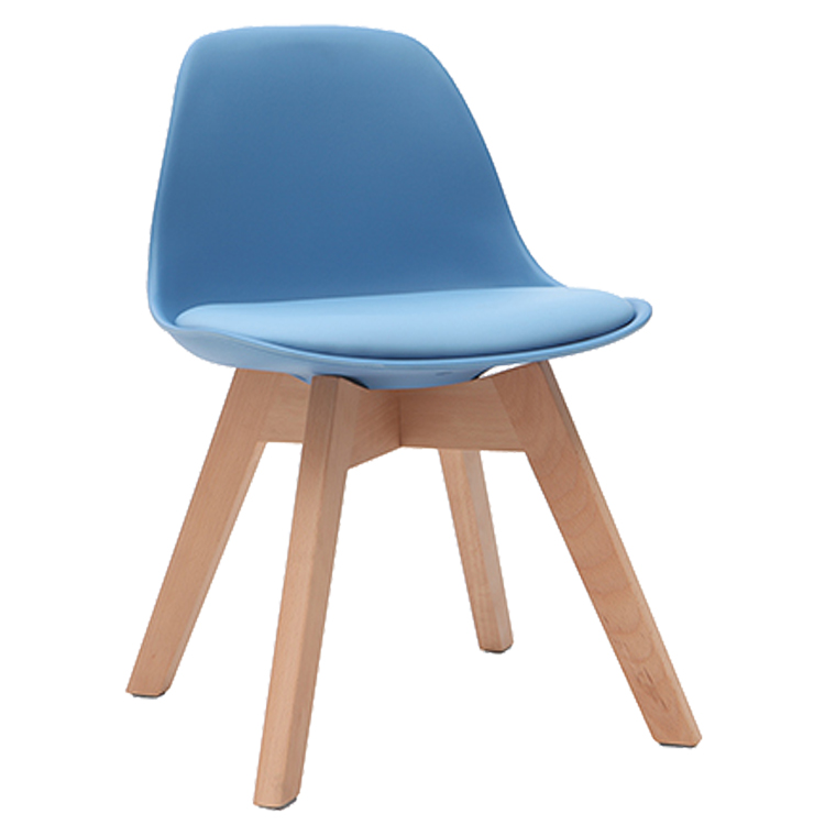 BLUE DESIGN CHAIR WITH WOODEN FEET BABY PAULINE