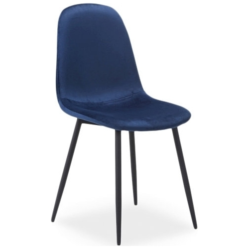 navy blue velvet dining cafe chair scandinavian contemporary design