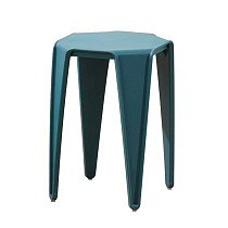 teal plastic stool chair rustic