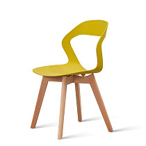 modern yellow pp plastic chair with wooden legs