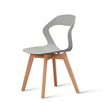 modern gray pp plastic chair with wooden legs