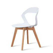 modern white pp plastic chair with wooden legs