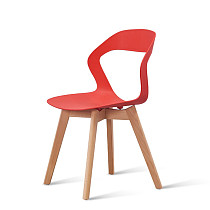 modern red pp plastic chair with wooden legs