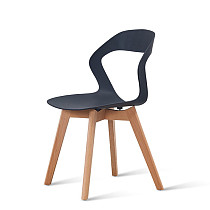 modern black pp plastic chair with wooden legs