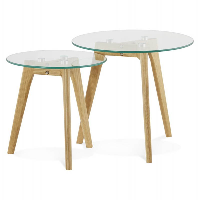 scandinavian design clear glass top wood legs side coffee table