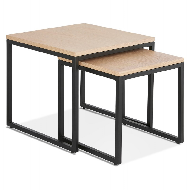 metal frame wooden top coffee table nesting table
