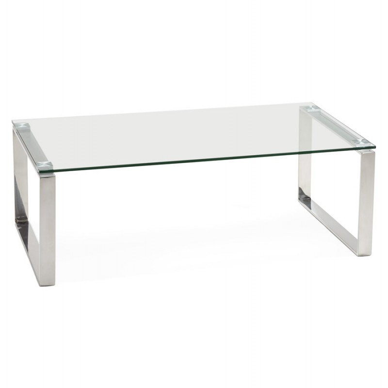 GLASS COFFEE TABLE RECTANGULAR DESIGN TRANSPARENT