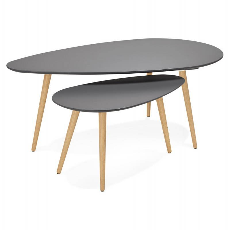 oval nesting tables scandinavian design dark gray contemporary