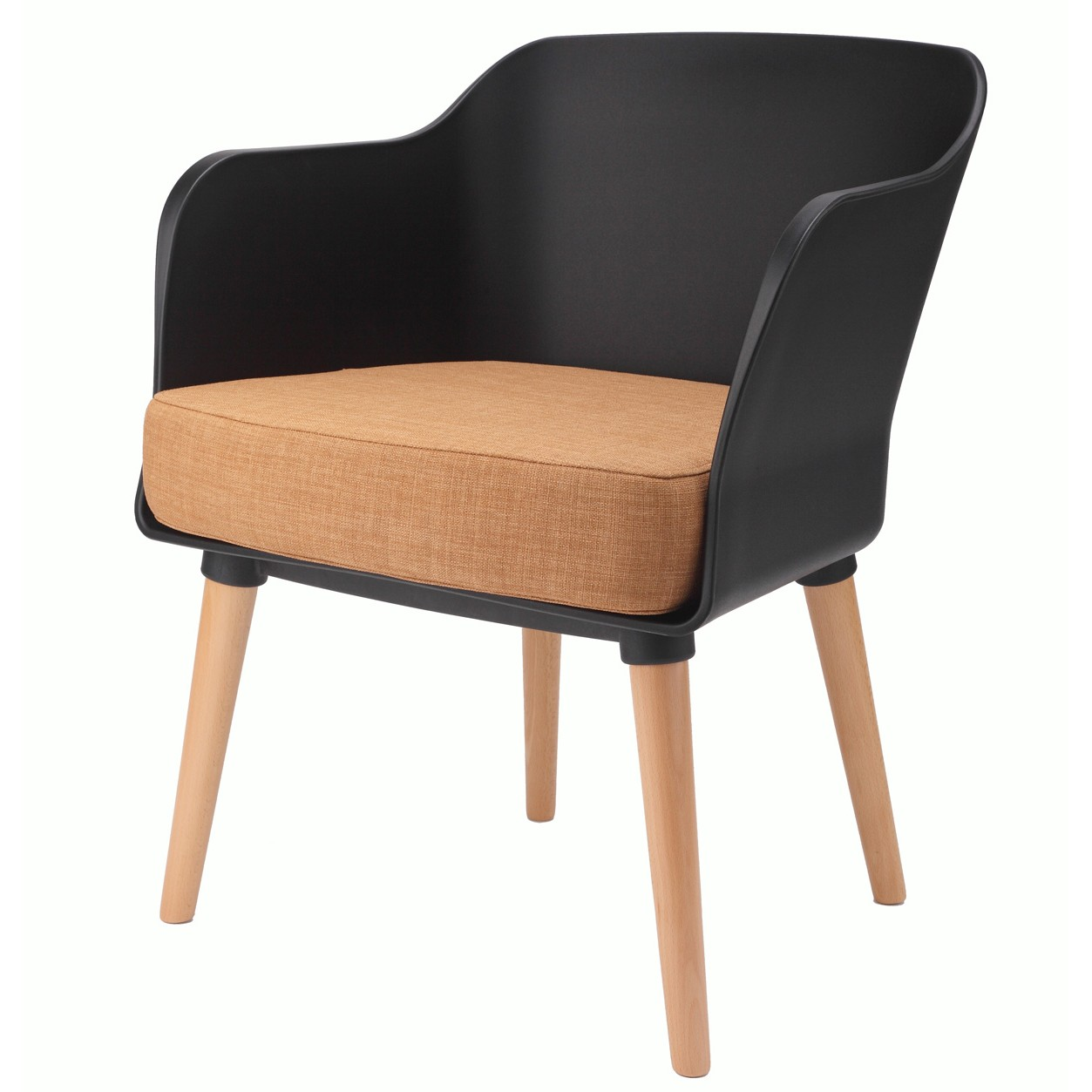 Modern Accent Armchair Black with Orange Cushion