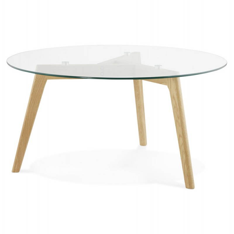 scandinavian design tempered glass top coffee table solid wood legs modern