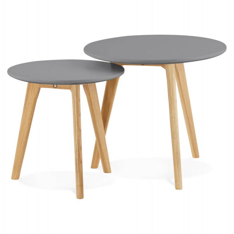 scandinavian design MDF wooden coffee table dark gray solid wood legs
