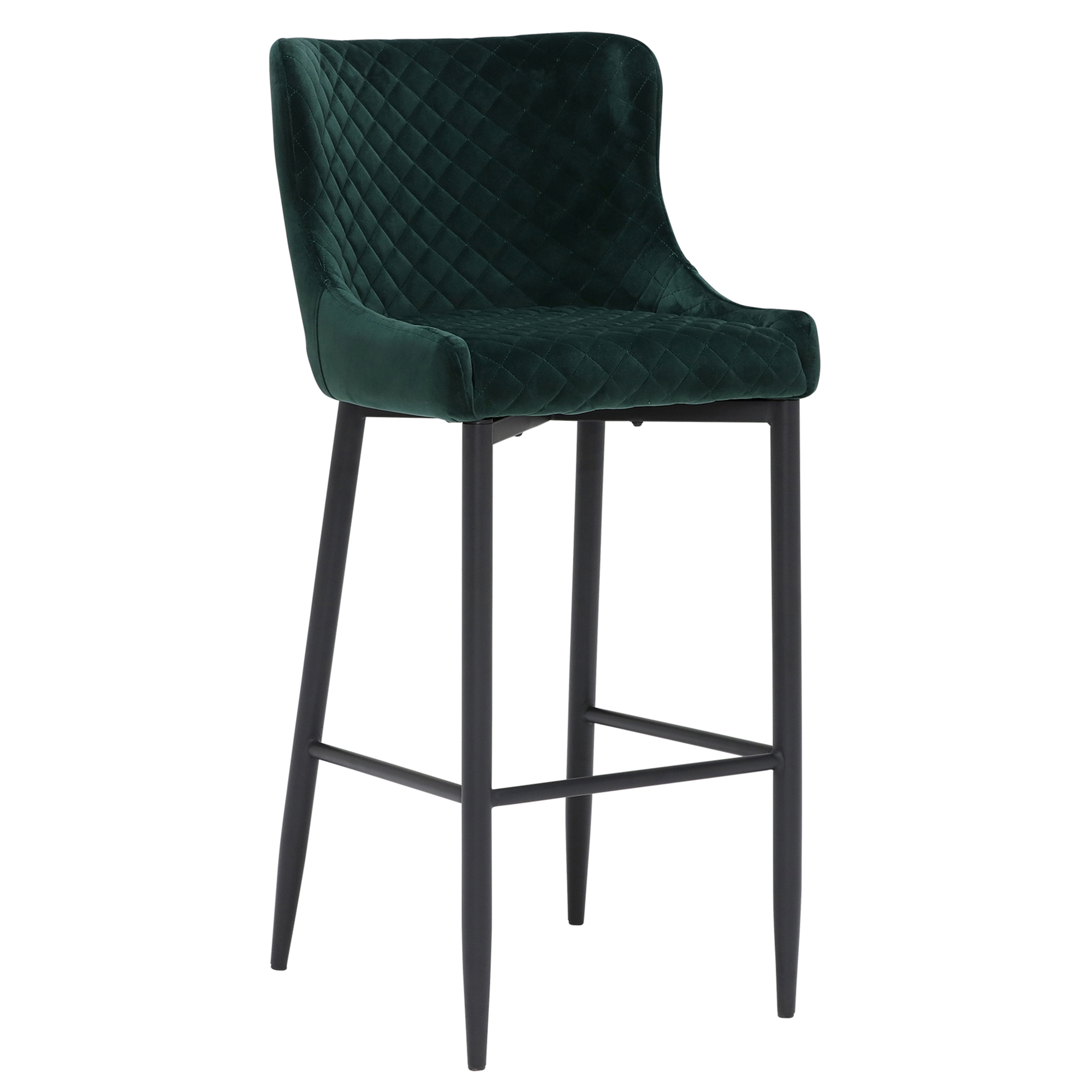 contemporary design dark green fabric upholstered bar stool