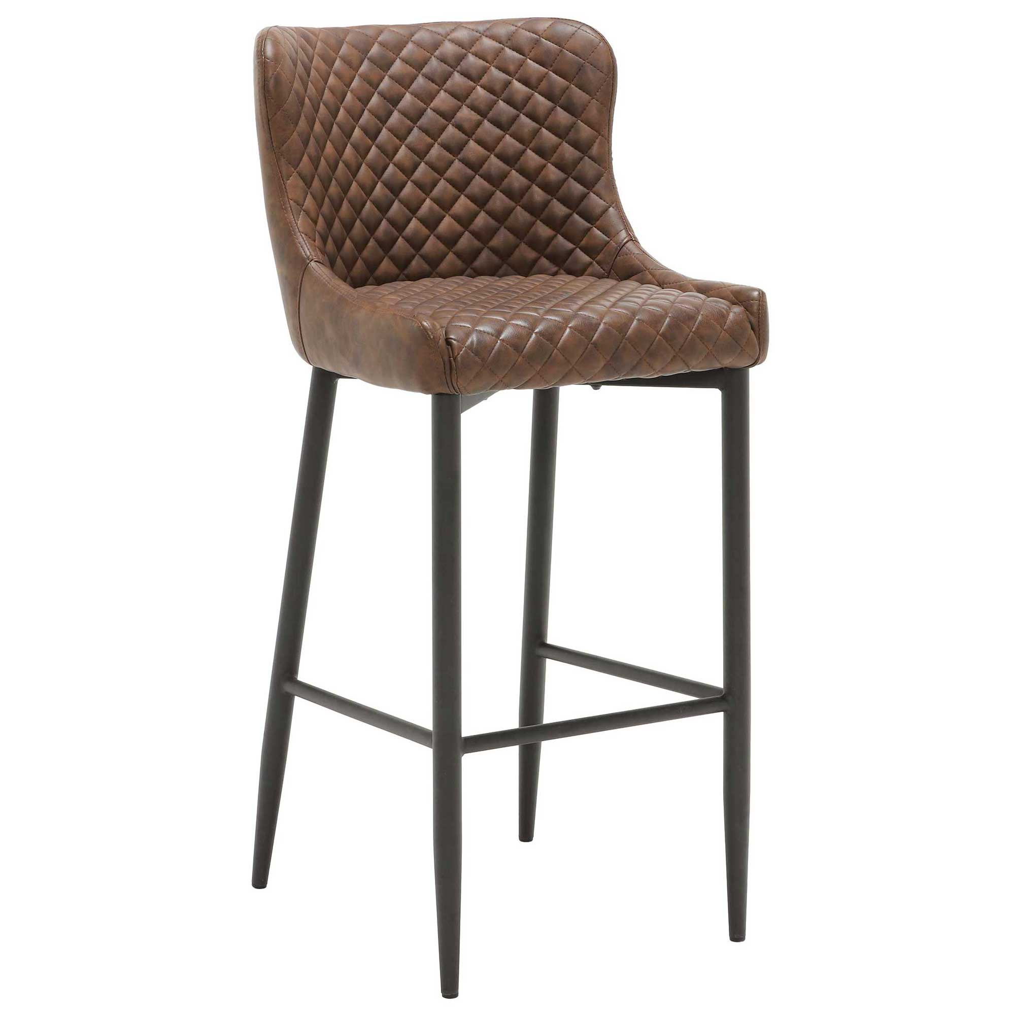 UPHOLSTERED BAR STOOL Brown Faux Leather