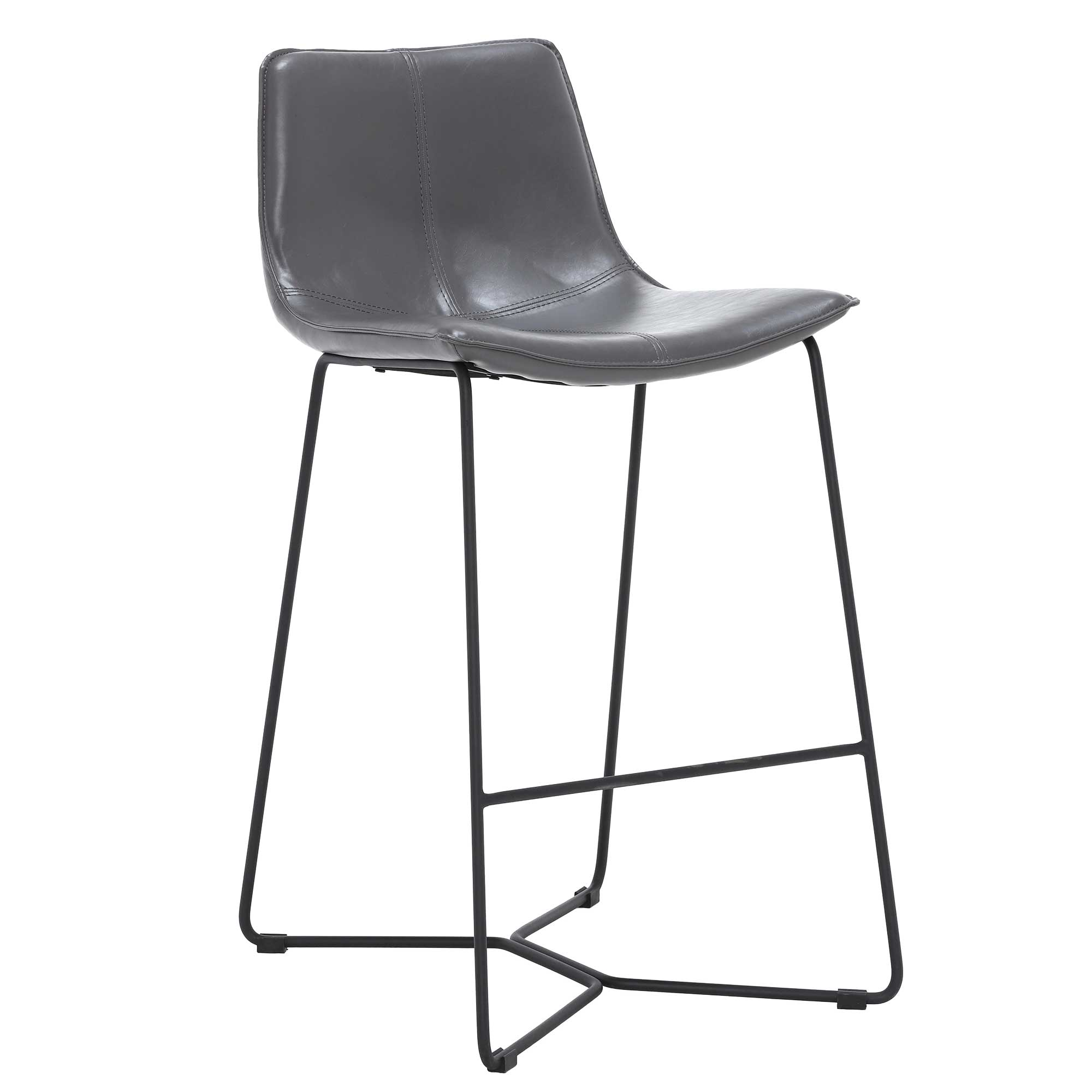 faux leather upholstery counter bar stool gray