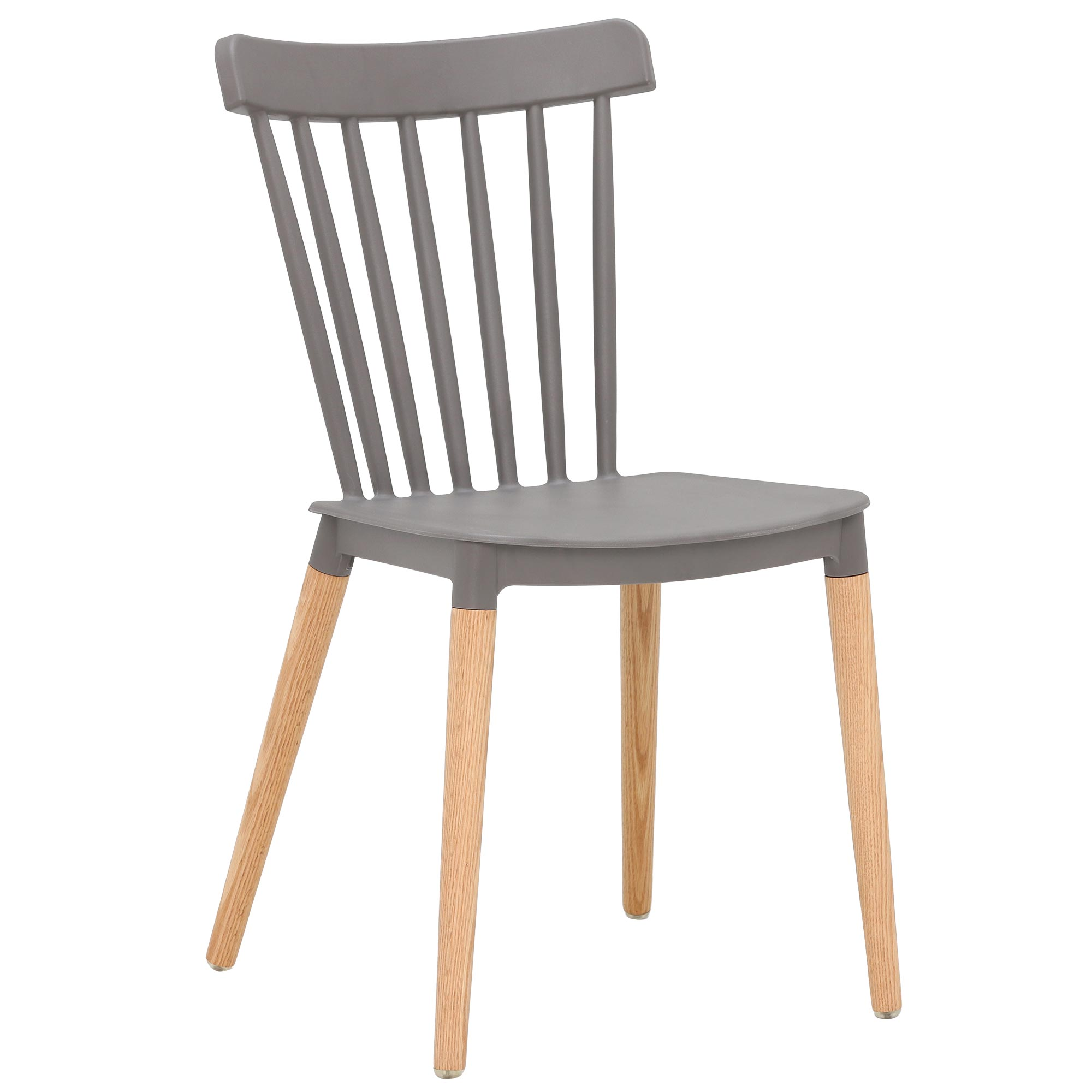 scandinavian design gray pp plastic dining chair with solid wood legs