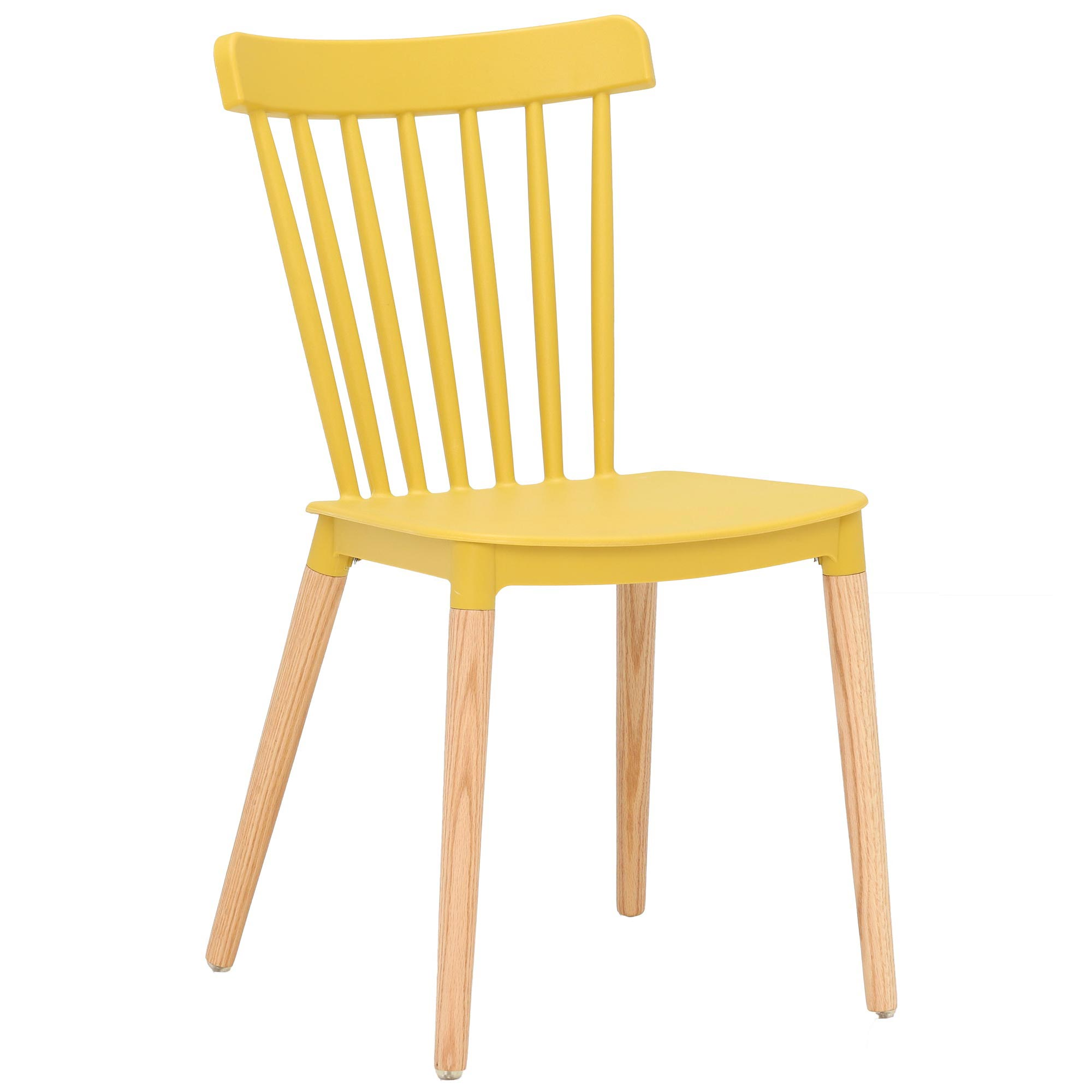 scandinavian design yellow pp plastic dining chair with solid wood legs