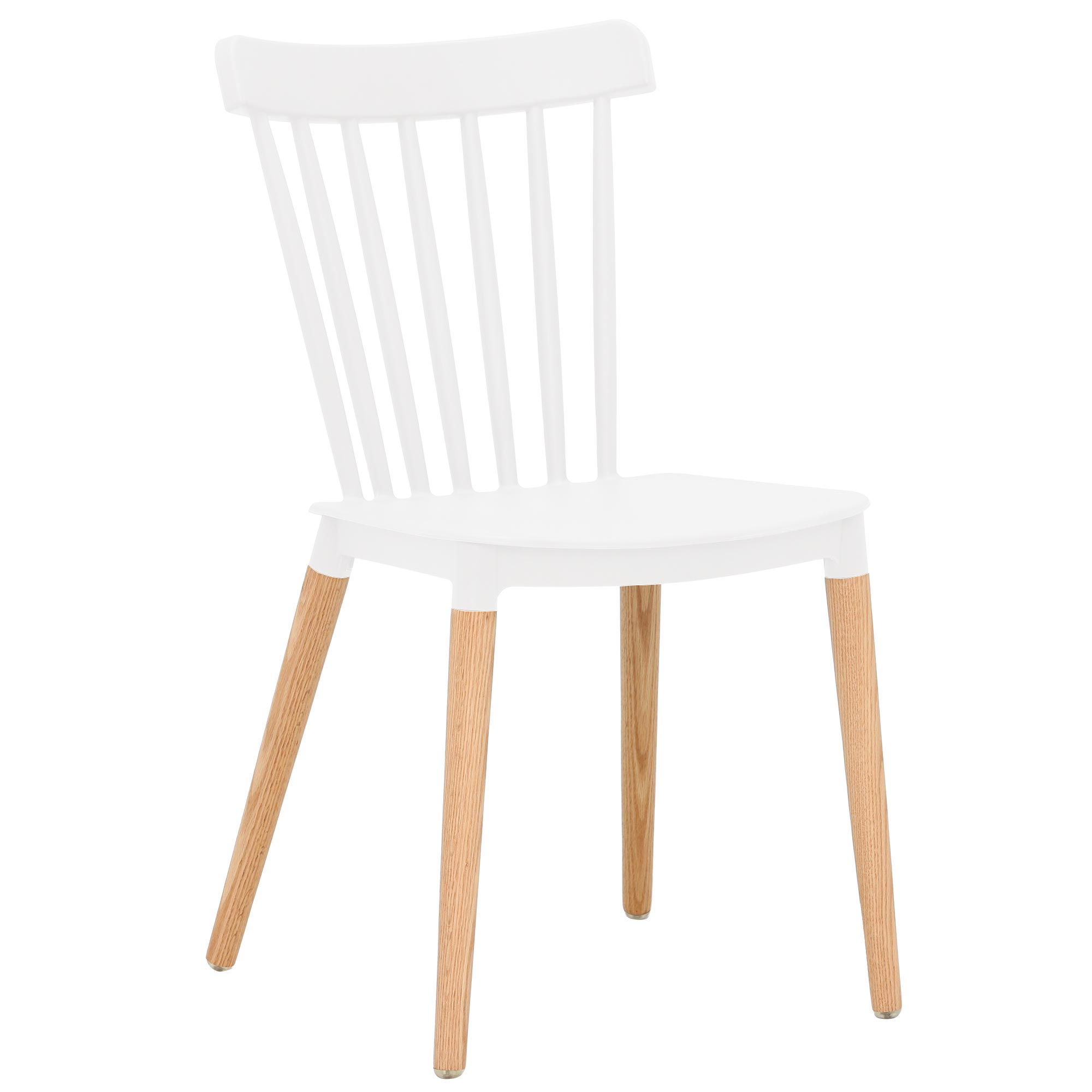 scandinavian design white pp plastic dining chair with solid wood legs